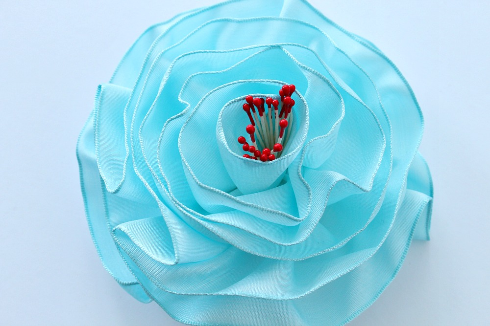 Aqua ribbon rose
