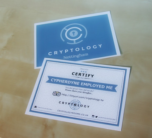 Cryptology Nottingham Review | Morgan's Milieu: Cryptology certificate