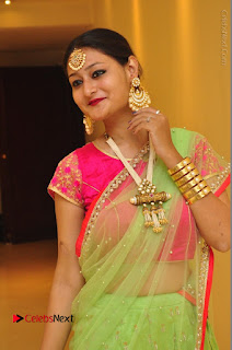 Model Nilofer Haidry Stills in Green Saree at Trendz Exhibition and Sale 2016  0009.JPG