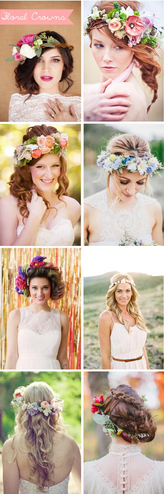 Floral crowns, coroncine di fiori, acconciature per la sposa