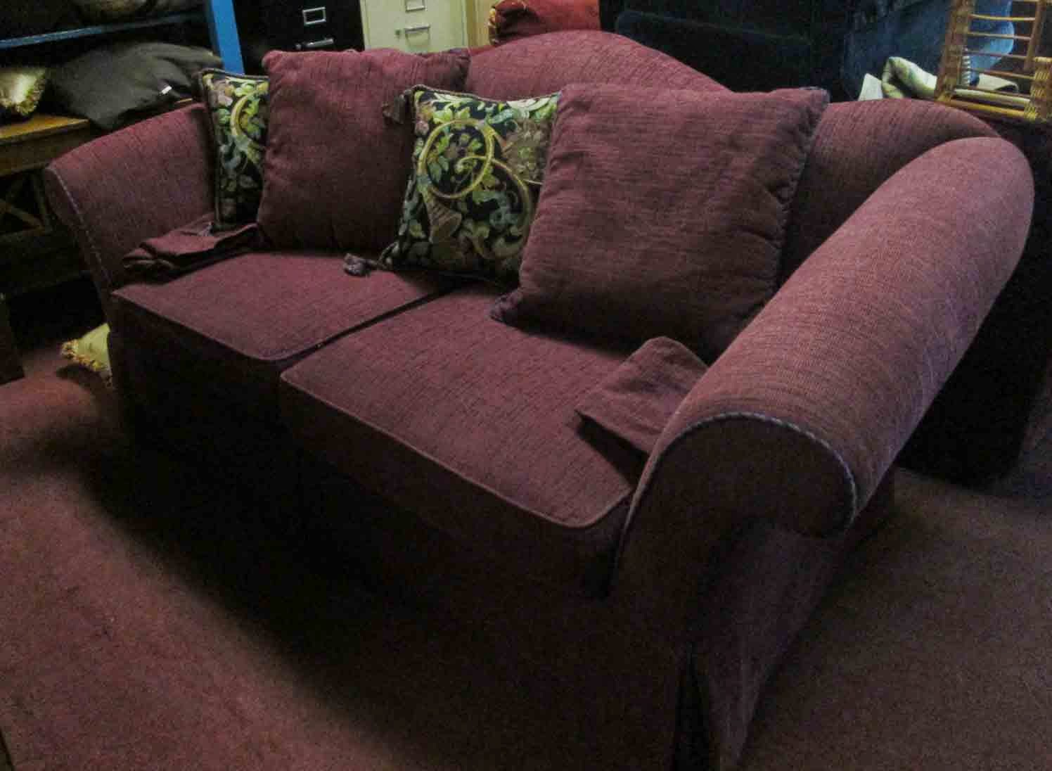UHURU FURNITURE & COLLECTIBLES: SOLD Dark Purple Sofa