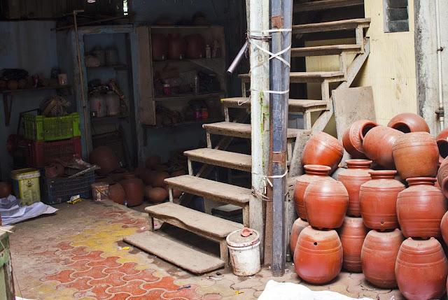 our world tuesday, potter, studio, kumbharwada, dharavi, mumbai, india, pots, earthenware,