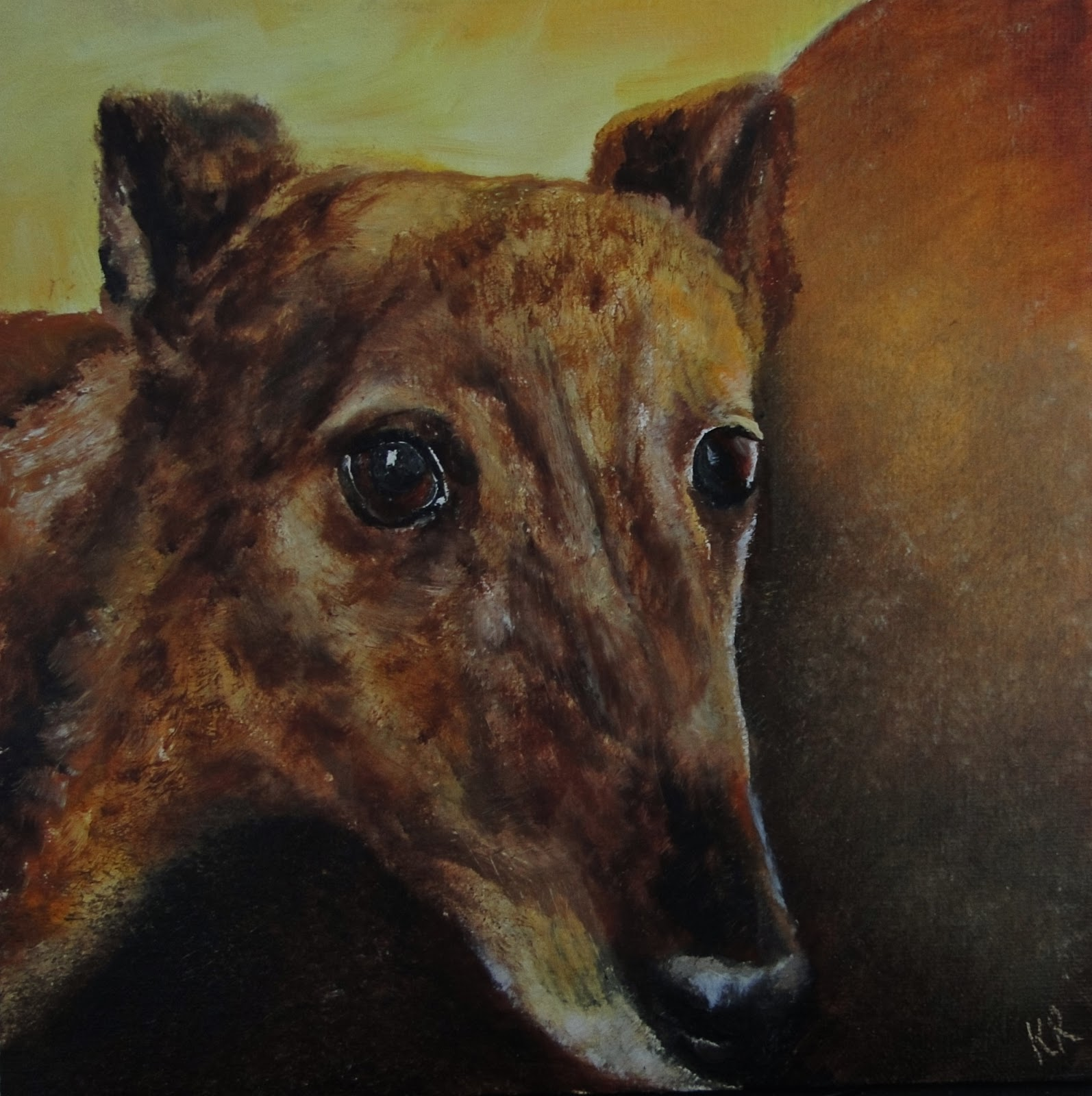 oil painting, brindle, greyhound, pet portrait by Karen