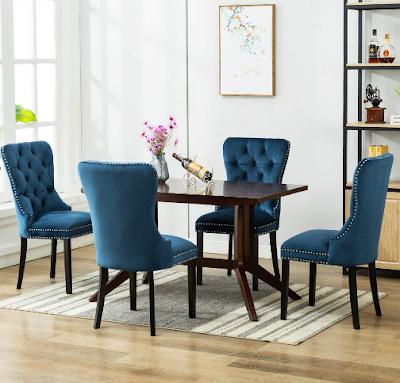 Elegant Tufted Upholstered Dining Chairs, Retro Velvet Dining Room Chair Set of 2