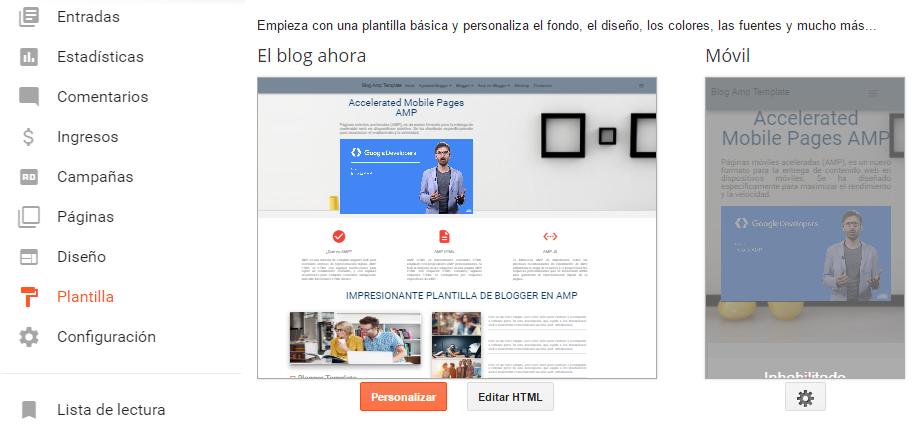 Plantilla de Blogger en Amp HTML