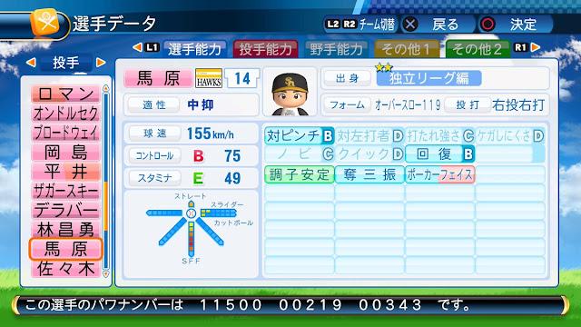 パワプロ2016でパスワードとパワナンバー配布。ソフトバンクホークスの馬原孝浩