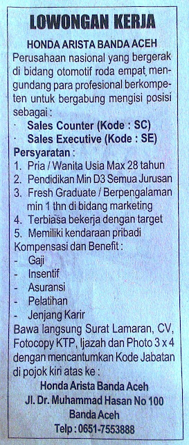 Lowongan Kerja pada Honda Arista Banda Aceh
