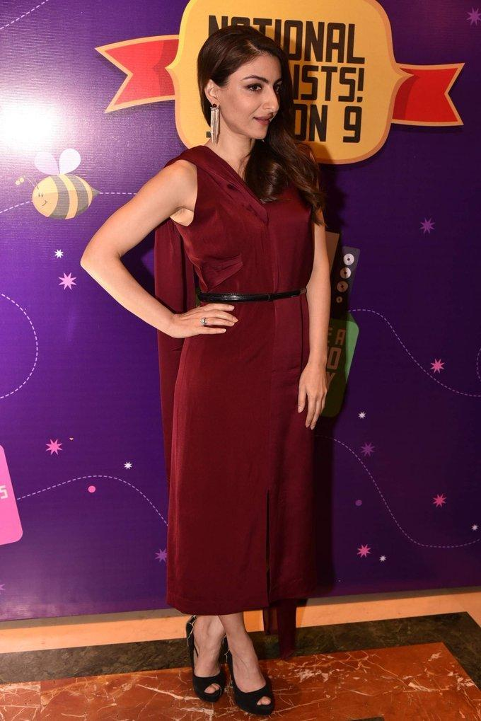 Soha Ali Khan At Spell Bee Event In Maroon Dress