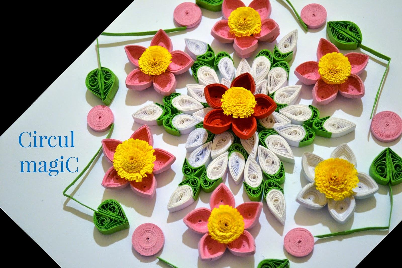 mandala cu flori quilling, flower mandala circul magic