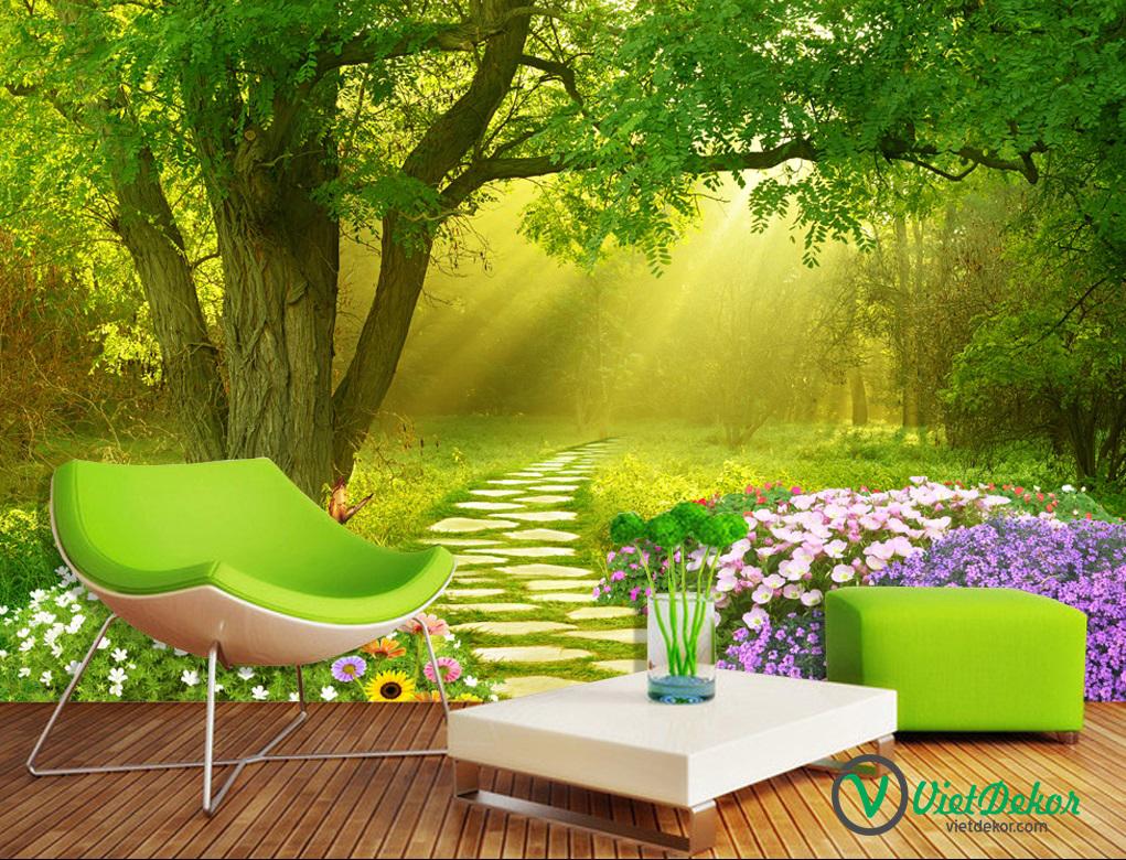 Tranh dán tường 3d phong cảnh rừng cây hoa lá