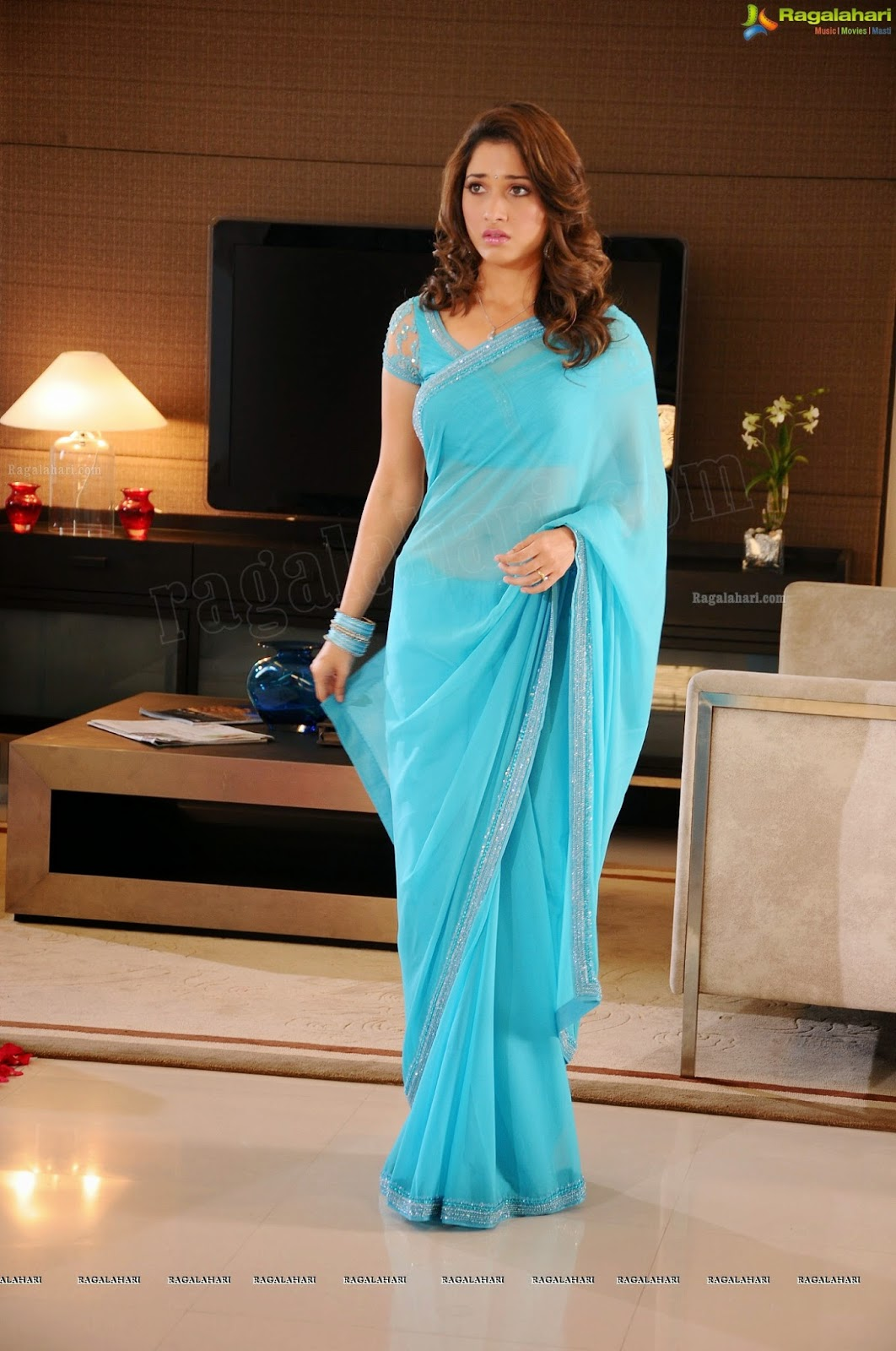 Tamanna Blue Saree: Indian Garam Masala: Tamanna Bhatia Latest Hot Back Spicy