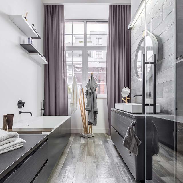 Colori e materiali per un design bagno industrial style