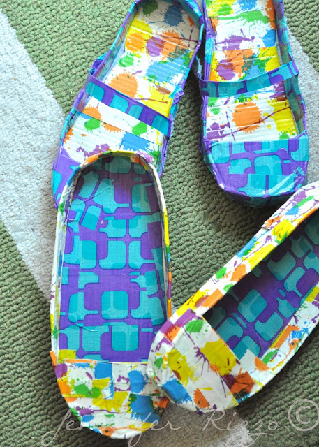 Mary Janes and loafers made from duct tape and cardboard craft