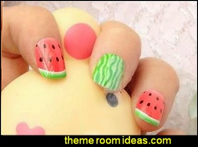 Watermelon Fruit False Stick-On Fake Nails tips
