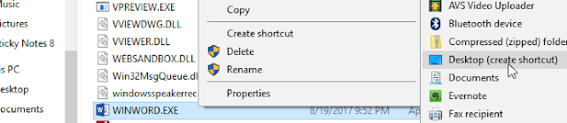desktop create shortcut