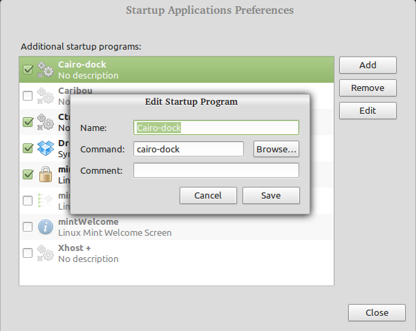 add cairo-dock to startup application list in linux mint
