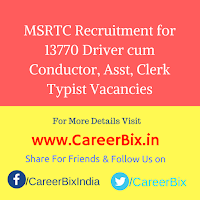 MSRTC Recruitment for 13770 Driver cum Conductor, Asst, Clerk Typist Vacancies