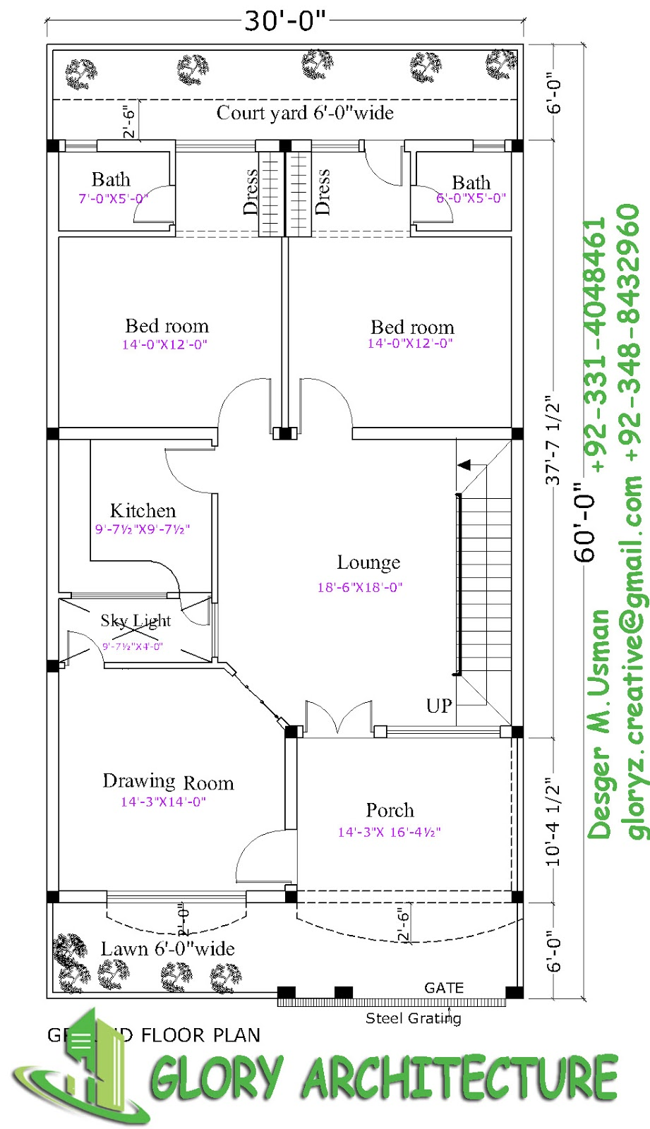 30x60 house plan elevation 3d view drawings pakistan House plan and elevation drawings