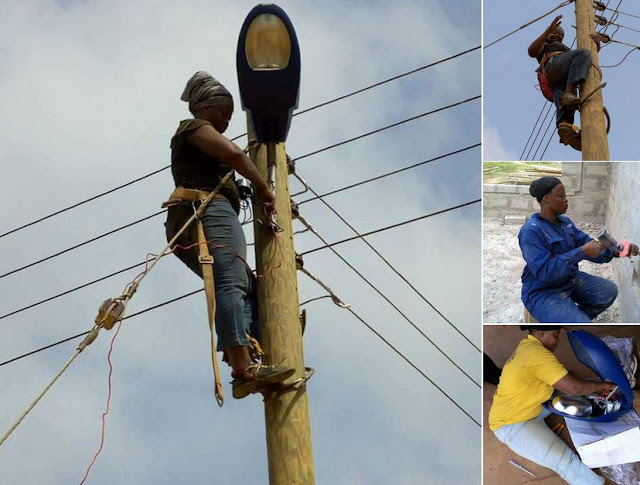 Ghanaian female electrician breaks the internet with her pictures