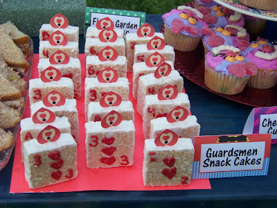 Queen of Hearts Card Guardsmen Dessert Treat from our Alice in Wonderland Party. Celebrate with us and this fun Alice in Wonderland Birthday party.  With all the DIYs, printables, decorations, favors, and fun, you can recreate any part of this birthday party and go down the rabbit hole to Wonderland anytime.
