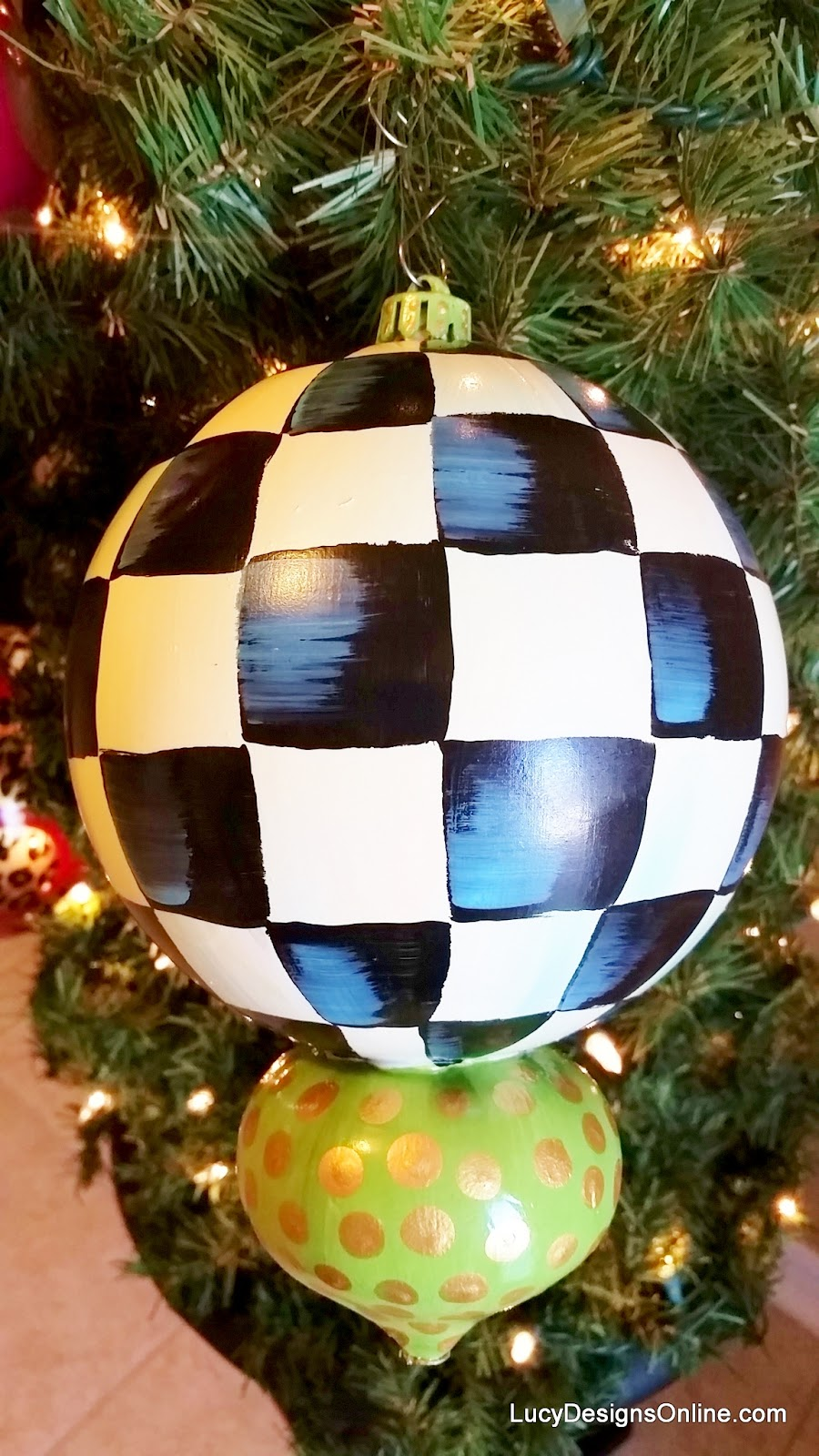"shatterproof oversized 6"" black and white check hand painted ornament"