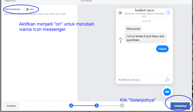 Merubah icon warna chat facebook messenger