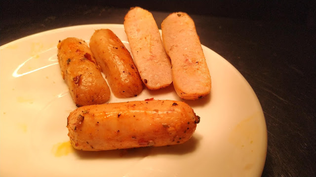 Grilled chicken sausage sliced into two Food Recipe