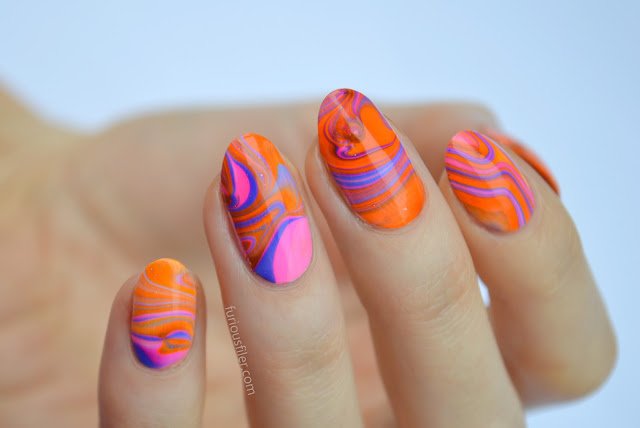 water marble nail art neon furious filer