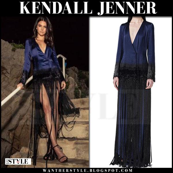 Kendall Jenner in dark blue satin fringe dress cannes film festival 2016 what she wore