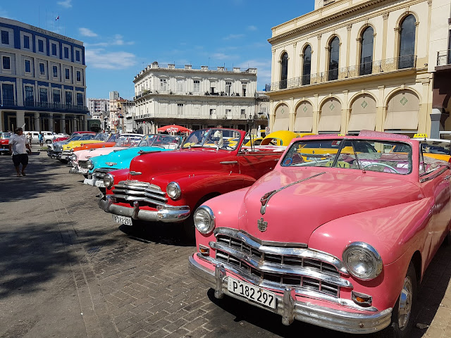Classic convertible American cars in Old Havana