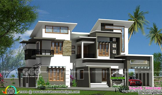 Modern box type 2350 square feet home