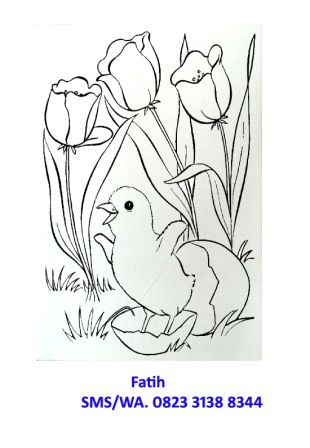 melukis kanvas anak ayam
