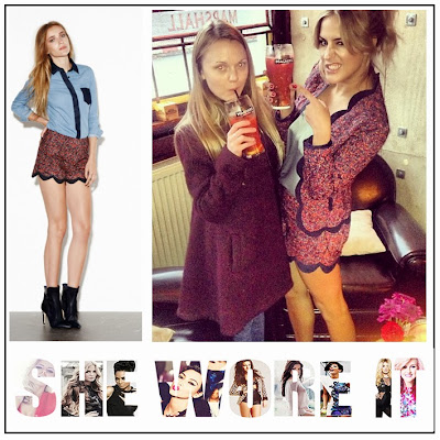 Caroline Flack, Supertrash, Quilted, Red, Blue, Burgundy, Floral Print, High Waisted, Shorts, Matching, Scalloped Edge, Jacket, Camden, Pub