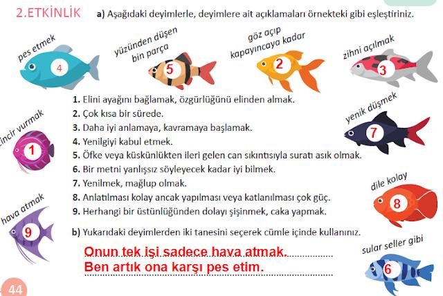 MEB Yayınları 5.Sınıf Türkçe Ders Kitabı 44.Sayfa Cevapları (Bilmeyen Var mı?)