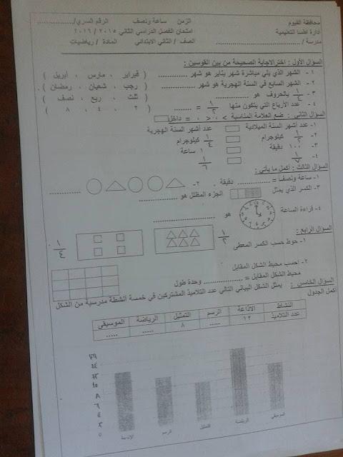 امتحان الرياضيات الصف الثانى الابتدائى الفصل الدراسى الثانى 2016