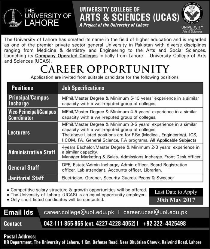 UCAs Jobs  in University of College of Arts and Sciences Lahore  28 May 2017