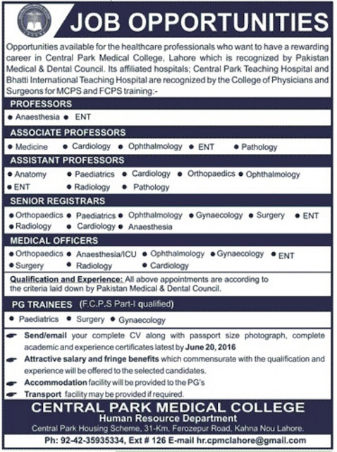 Medical Teaching Faculty Jobs in Central Park Medical College