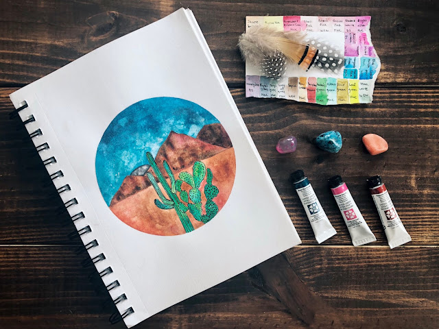 Watercolor Art - Watercolor Cacti - Watercolor Desert - theartsyboho.com