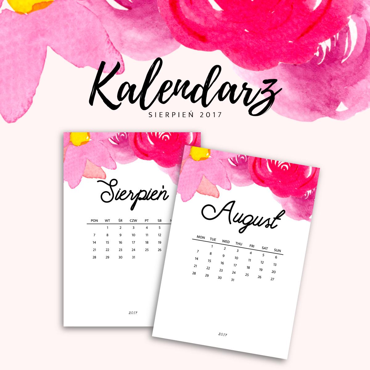 kalendarza do druku - sierpień 2017