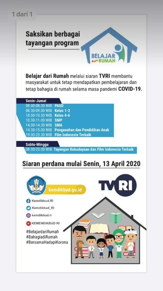 Jadwal Pembelajaran TVRI Untuk Paud, SD, SMP, SMA Siaran Lengkap Minggu I