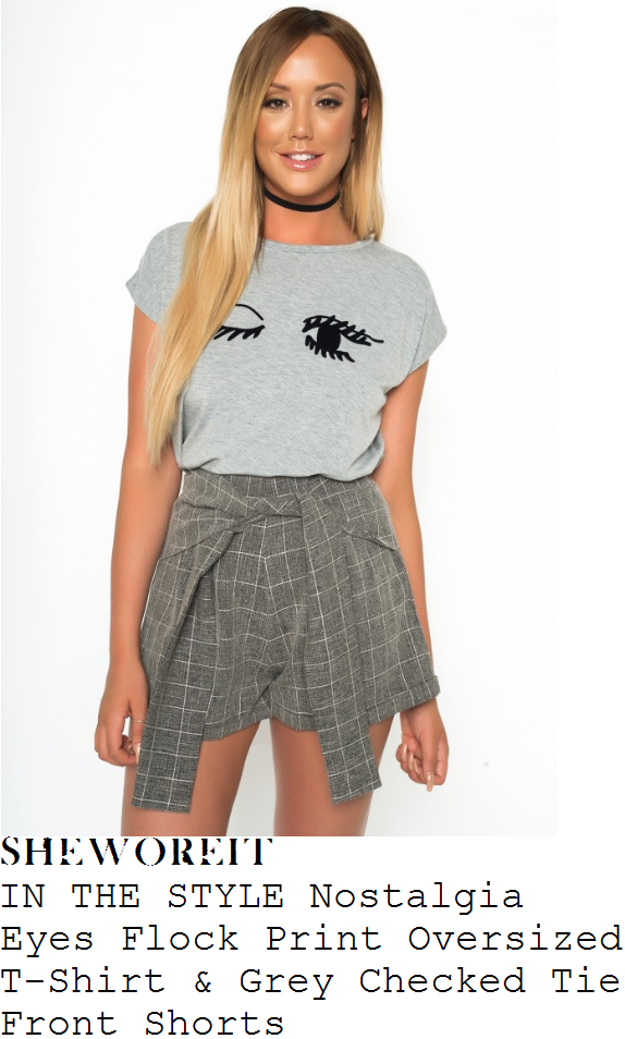 charlotte-crosby-in-the-style-nostalgia-light-grey-and-black-winking-eye-print-cap-sleeve-relaxed-fit-t-shirt-and-grey-and-white-grid-check-print-high-waisted-tie-front-detail-shorts