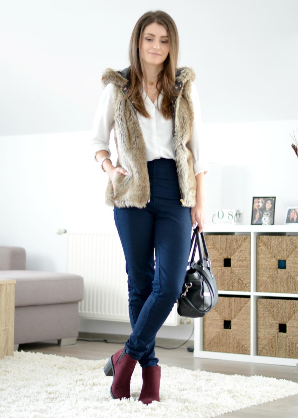 faux fur vest outfit ideas