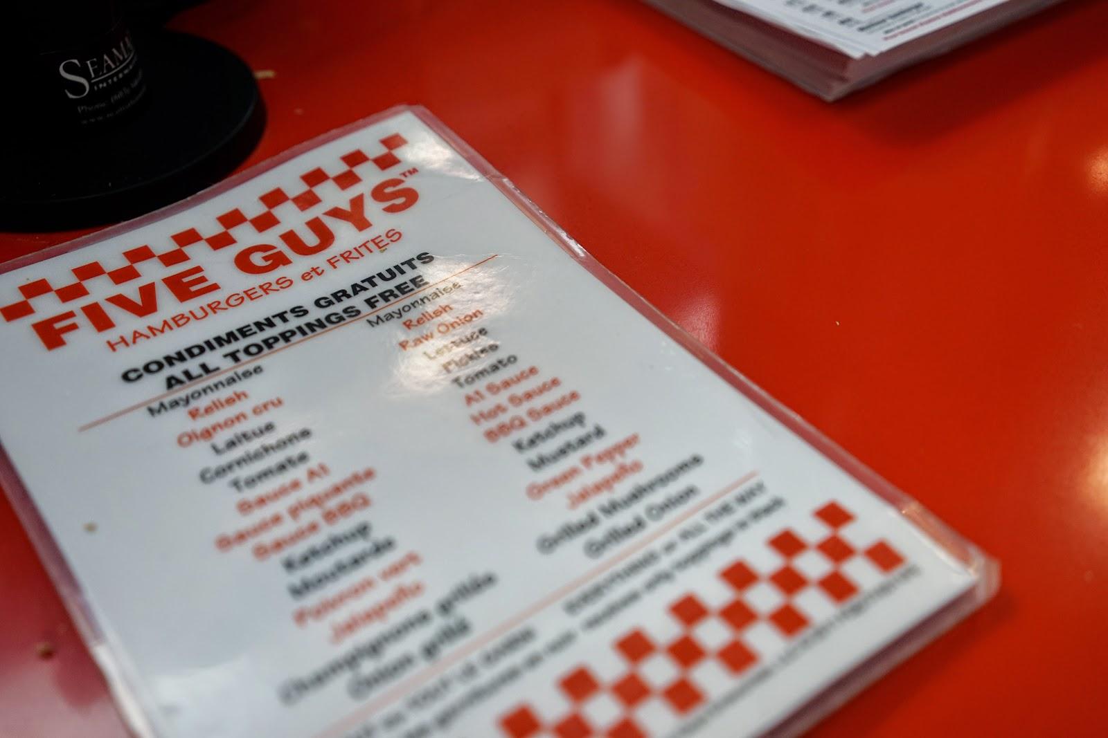 fiveguys toppings menu