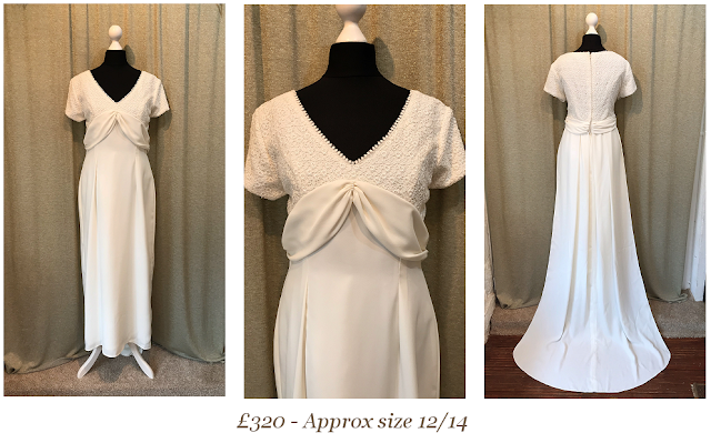 short sleeve lace 1960's vintage wedding dress with train available at vintage lane bridal boutique in bolton , manchester, lancashire