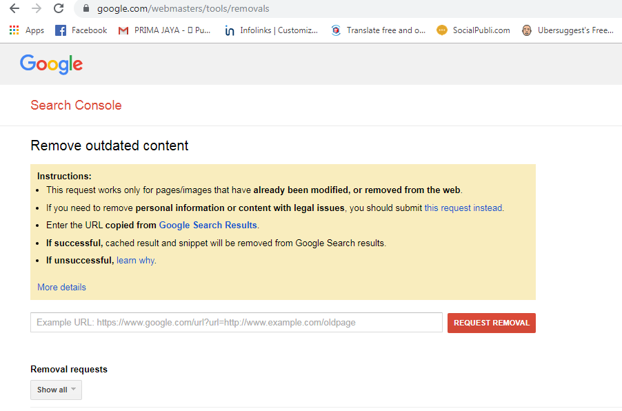 remove outdated content page google