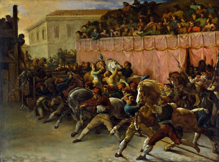 Théodore Géricault - Riderless Racers at Rome (c.1817)