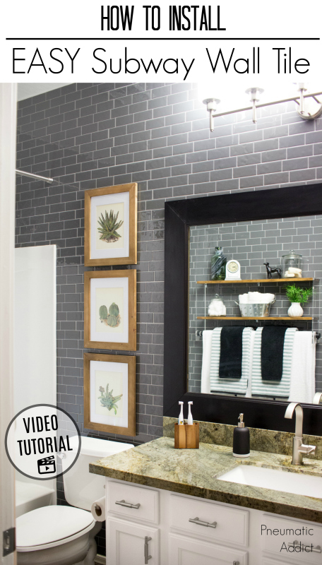 How to cover bathroom or kitchen walls with modern gray subway tile An easy make-over using peel and stick Smart Tiles