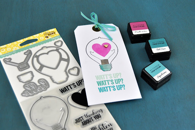 """""""Watt's Up"""" Stamped Tag for Jillibean Soup by Jen Gallacher #jengallacher #jillibeansoup #stamping #cardmaker"""