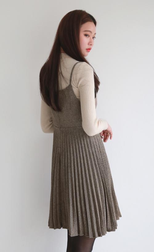 Beige Long Sleeve Top and Dress Set