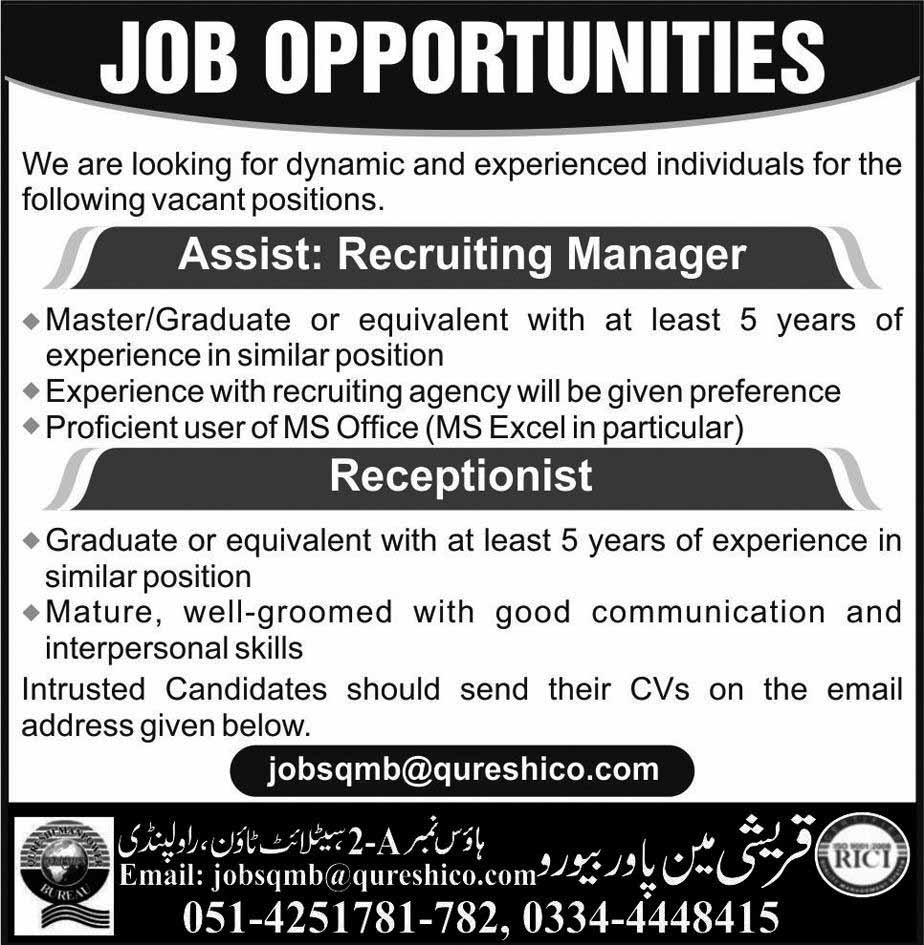 Assistant Recruiting Manager, Receptionist Jobs in Rawalpindi